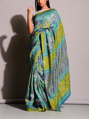 Grey And Green Highlighted Saree