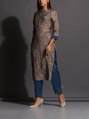 Grey Geometrical Printed Muslin Kurta Set