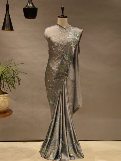 Grey Satin Silk Saree