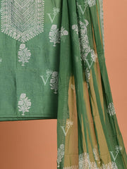 Green Chanderi Dress Material