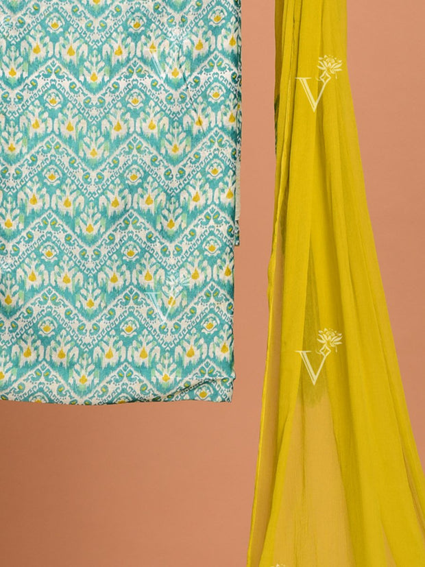 Sea Green Chanderi Dress Material