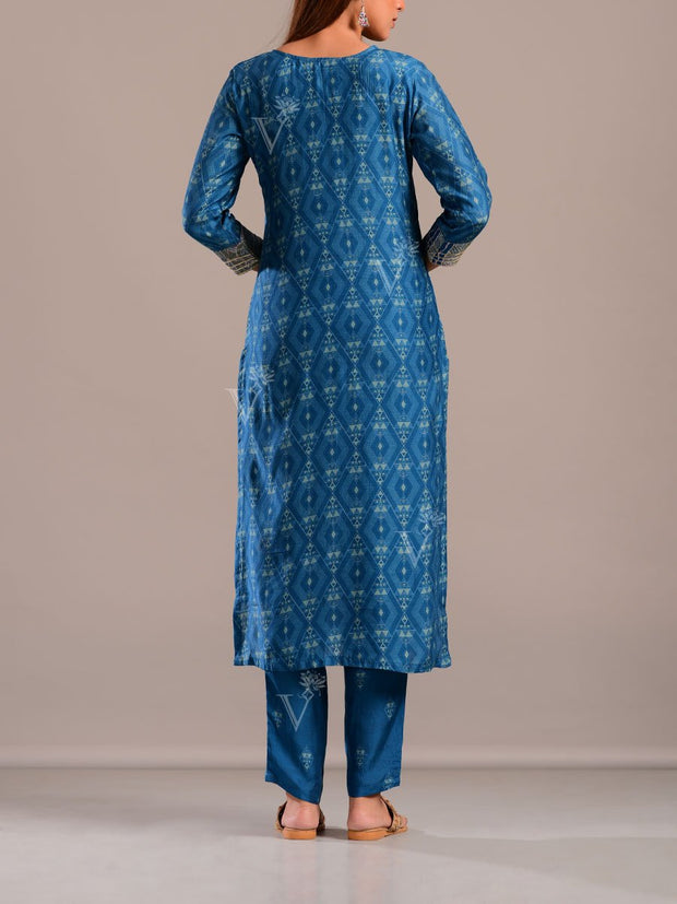 Persian Blue Printed Kurta Set