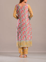 Mustard Yellow Cotton Silk Printed Suit Set