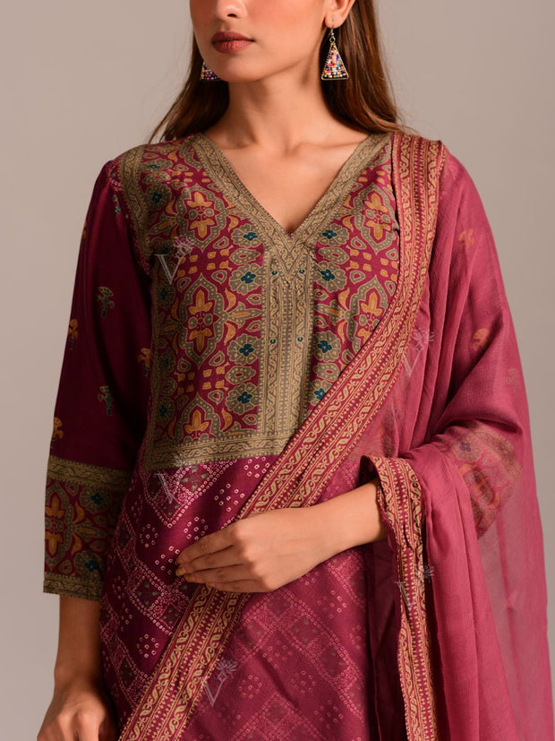 Burgundy Brown Cotton Silk Printed Suit Set