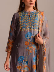 Cobalt Grey Printed Silk Suit Set
