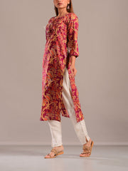 Wine Cotton Silk Printed Kurti