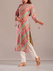 Turquoise Pink Cotton Silk Leheriya Printed Kurti