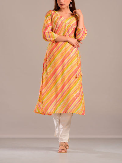 Lime Yellow Cotton Silk Leheriya Printed Kurti