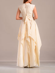 Off White Asymmetric Gown With Cape Top