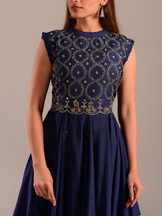 Navy Blue Asymmetric Gown With Cape Top
