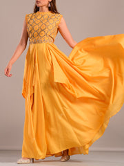 Yellow Asymmetric Gown With Cape Top