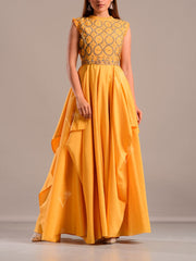 Gown, Gowns, Evening, Modern, Contemporary, Handwork, Festive wear, Embroidery, Silk, Party wear, Designer wear