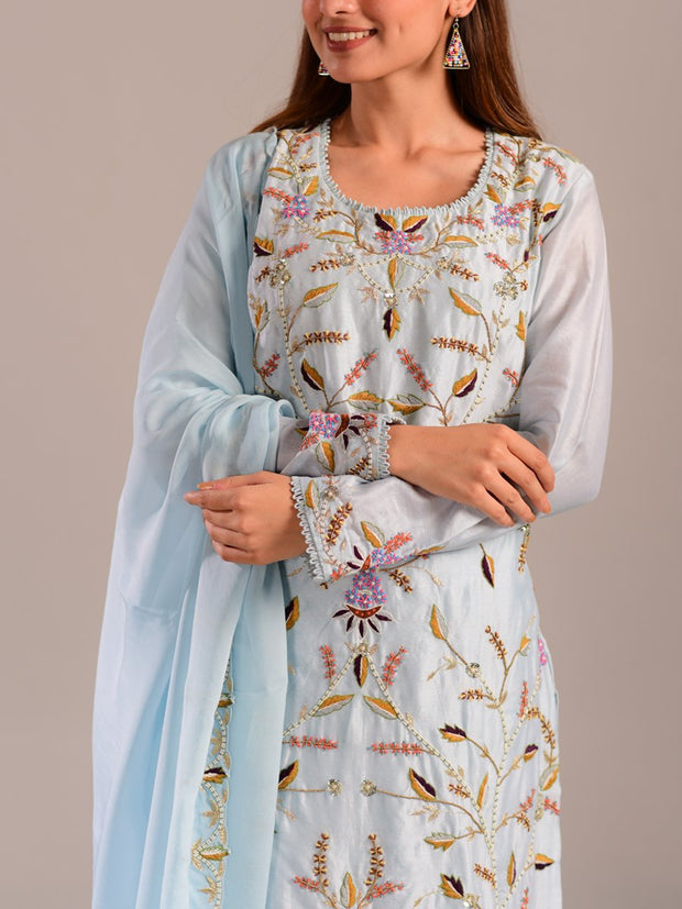 Light Blue Silk Embroidered Suit Set