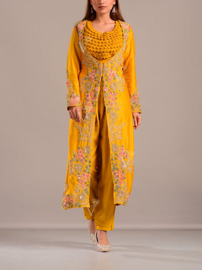 Mango Yellow Pant Set With Embroidered Jacket