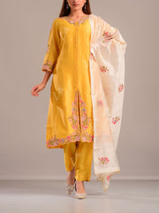 Sun Yellow Embroidered Suit Set