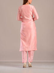 Powder Pink Embroidered Silk Suit Set