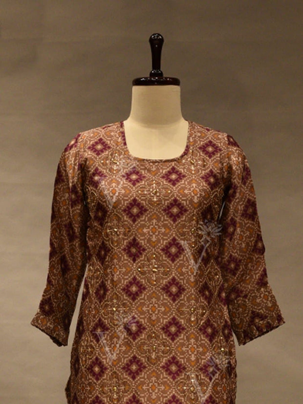 Brown Silk Printed Kurti