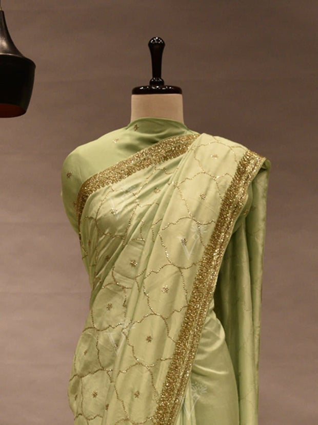 Mint Green Silk Embroidered Saree