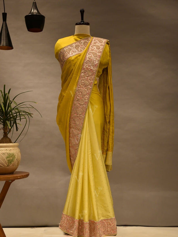 Saree, Sarees, Silk, Embroidered, Dyed, Solid Color, Party Wear