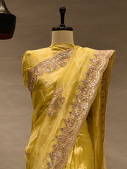 Yellow Silk Embroidered Scalloping Saree