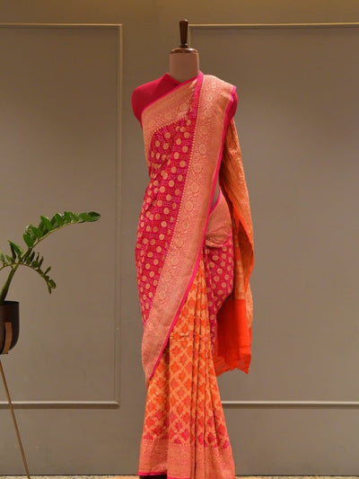 Saree,Sarees,Ghat Chola Saree,Ghat Chola Sarees, Bandhani, Bandhej Sarees, Handloom Sarees, Traditional Sarees, Handwoven, Pure Georgette, Georgette, Bright Color Saree
