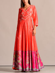 Orange Leheriya Anarkali Gown