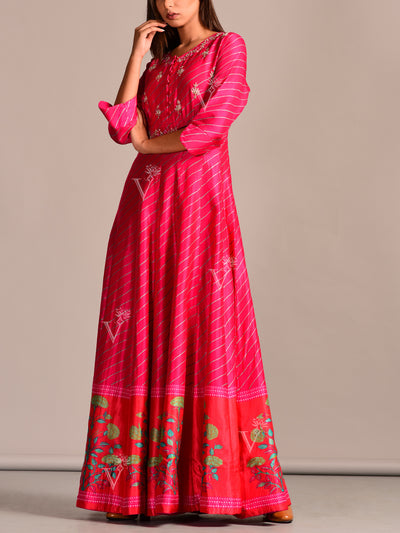 Rani Leheriya Anarkali Gown