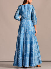 Blue Printed Silk Anarkali Tunic