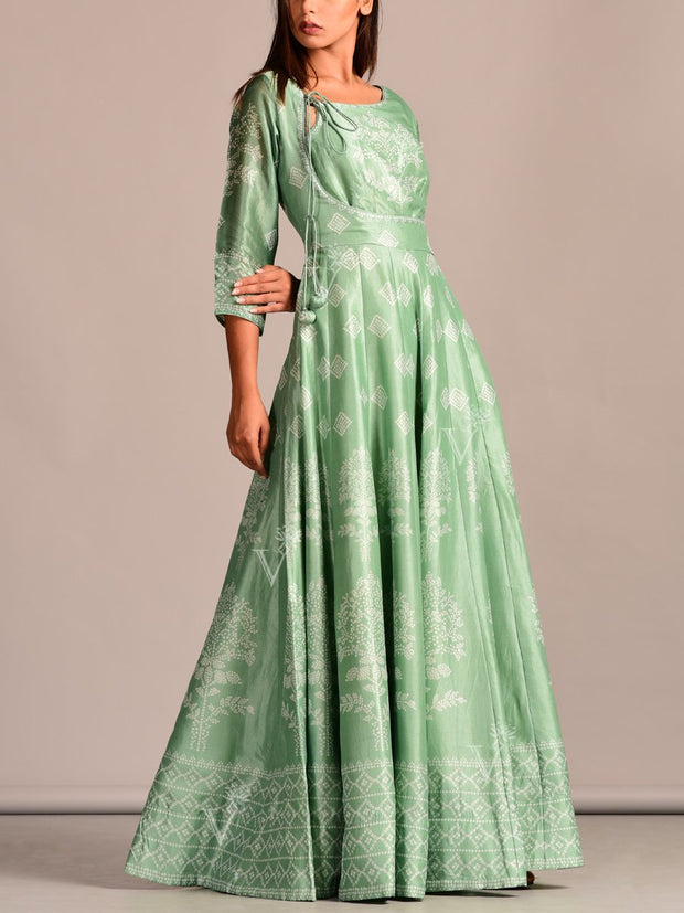 Sage Green Printed Silk Anarkali Tunic