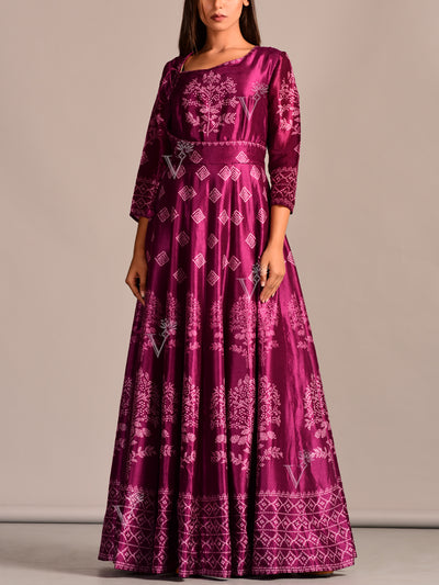 Purple Vasansi Silk Printed Gown