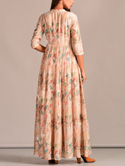 Champagne Printed Cotton Silk Dress