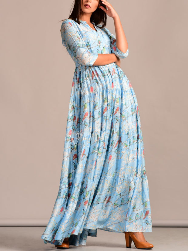 Light Blue Printed Cotton Silk Dress