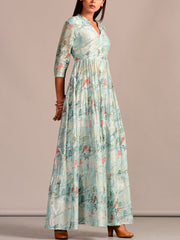 Aqua Printed Cotton Silk Dress