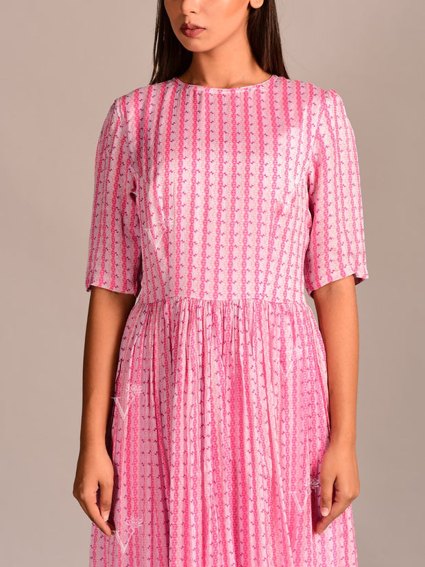 Pink Printed Crepe Dress