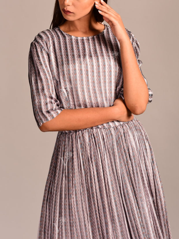 Grey Printed Crepe Dress