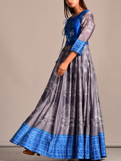 Blue Grey Silk Anarkali Tunic