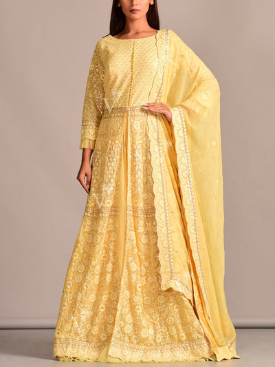 Yellow Lucknowi Anarkali with Skirt
