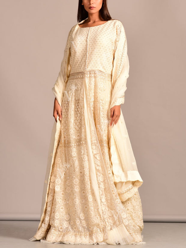 Off White Lucknowi Anarkali with Skirt