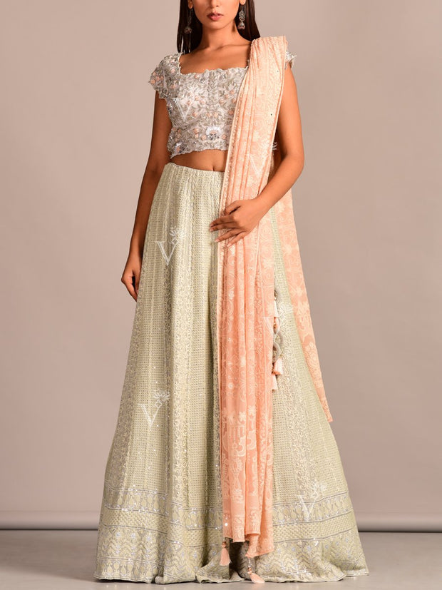 Mint Green Embroidered Lehenga Set