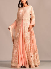 Light Pink Chickenkari Anarkali Skirt