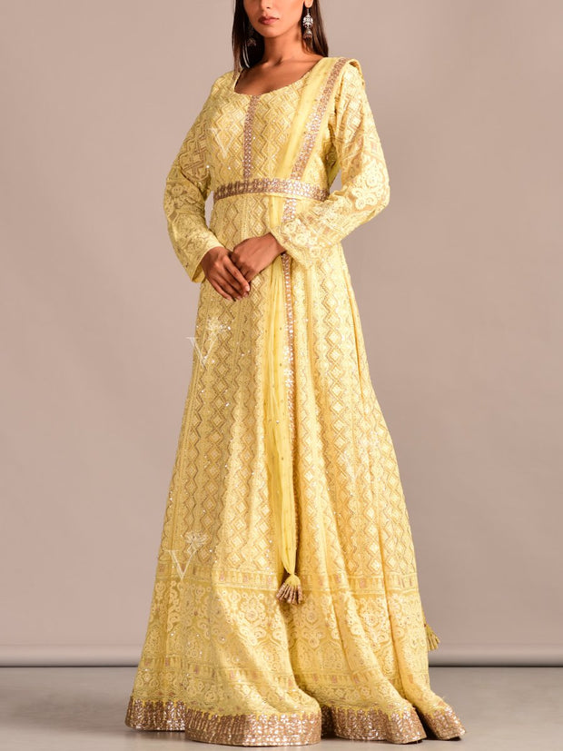 Powder Yellow Chickenkari Drape Anarkali