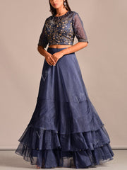 Lehenga, Lehenga Set, Skirt, Party Wear, Designer Wear, Traditional Wear, Traditional Outfit, Silk, Embroidered, Contemporary, Organza