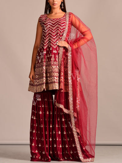 Sharara, Sharara Set, Silk, Deep, Traditonal, Traditional Outfit, Traditional Wear, Embroidered, Indo Western, Fusion Wear
