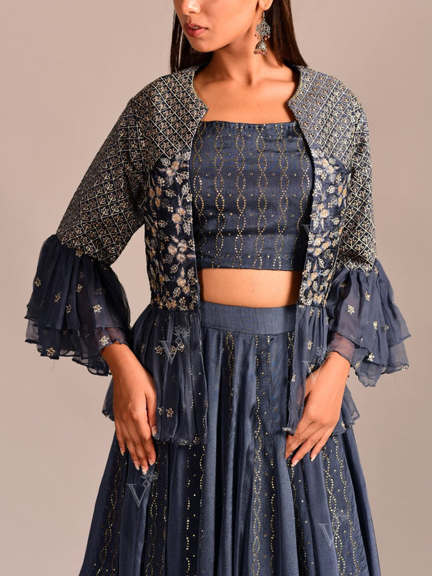 Blue Lehenga With Peplum Jacket