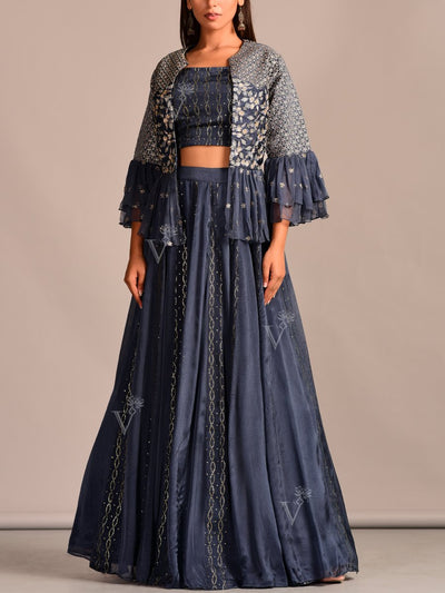 Lehenga, Lehenga Set, Skirt, Peplum, Party Wear, Designer Wear, Traditional Wear, Traditional Outfit, Silk, Embroidered, Contemporary