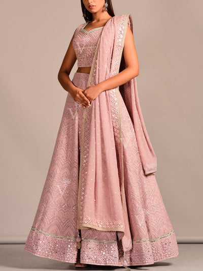 Embroidered, Georgette, Party Wear, Designer Wear, Traditional Wear, Traditional Outfit, Lehenga, Lehenga Set, Dress, Gown, Gowns, Floor Length, Chikankari, Lucknowi, Pastel