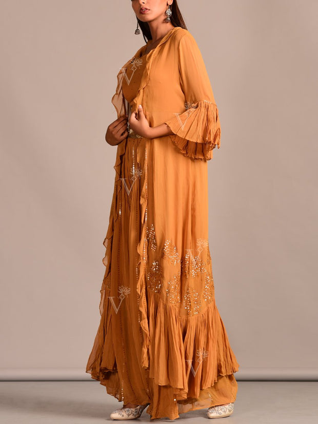 Mustard Yellow Georgette Sahara With Cape Jacket