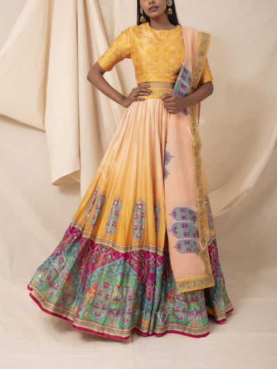 Yellow Ombre Silk Printed Lehenga Set