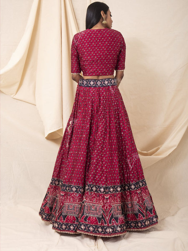 Cranberry Silk Printed Booti Lehenga Set
