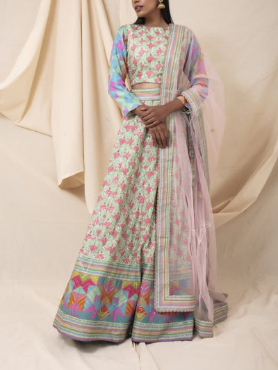 Mint Green And Baby Pink Ogee Printed Lehenga Set